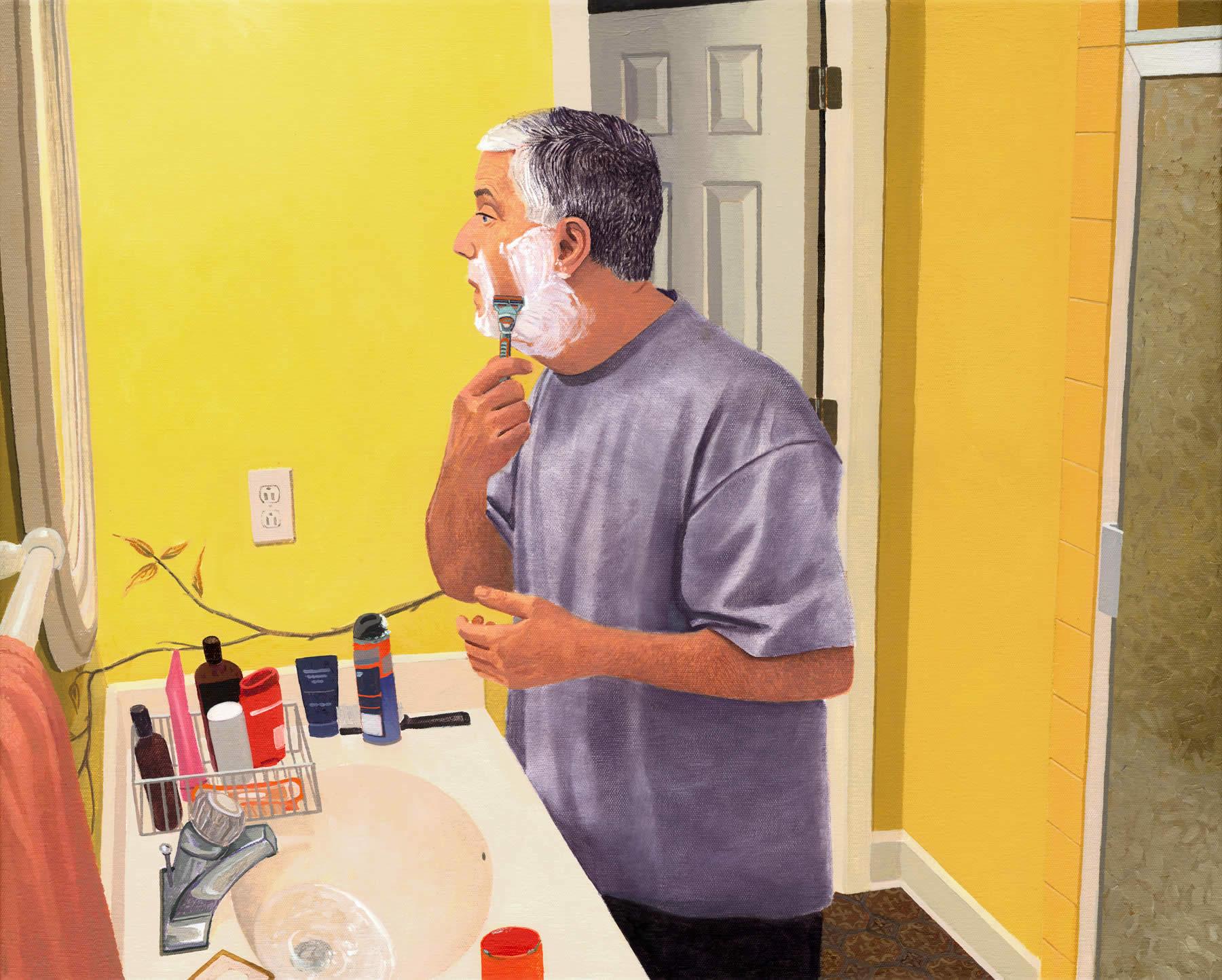 Portrait of My Dad Shaving