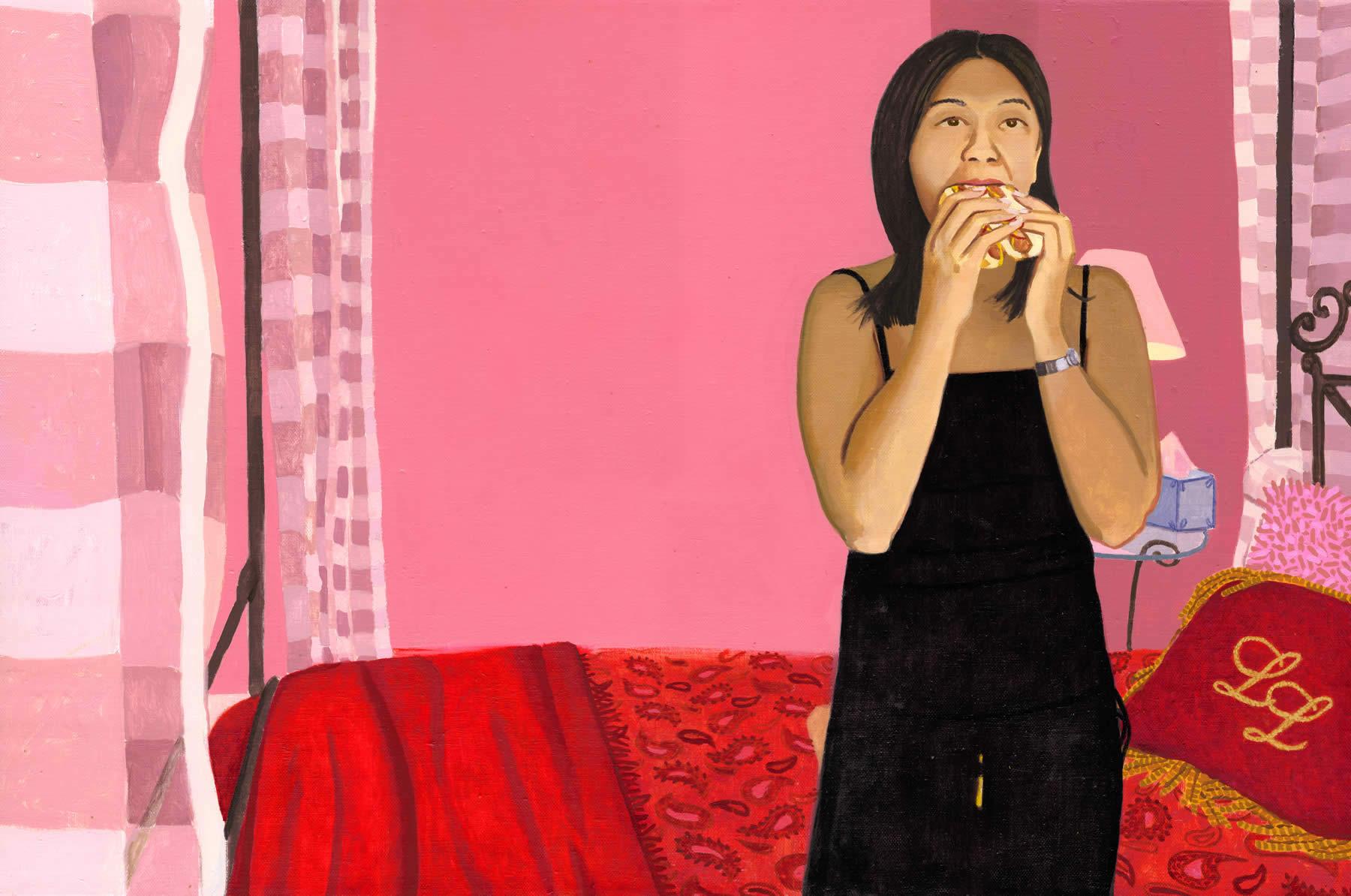 Woman Eating Two Hotdogs