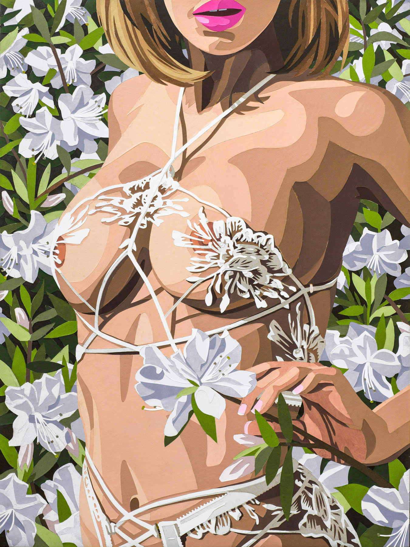 Woman in Lingerie with Azaleas